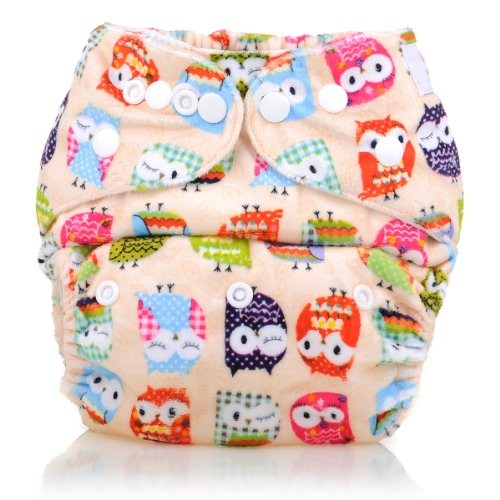 Reusable Washable Microfleece One Size Cloth Diapers, Owl