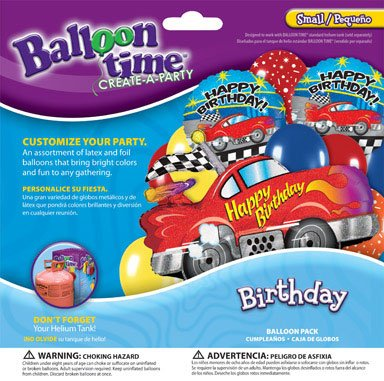 Balloon Time Balloon Pack Sports Car Birthday Use W/ Helium Balloon Kit Ace 2292043