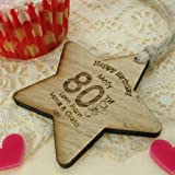 Womens 80th Birthday Gift, 80th Birthday Gift Ideas, 80th Birthday Wooden Star, Personalised 80th gift