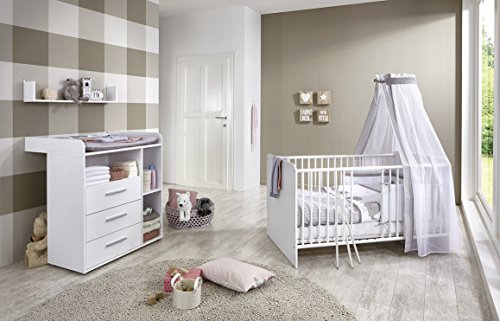 babyzimmer kinderzimmer komplett set kim 5 in wei komplettset mit babybett lattenrost. Black Bedroom Furniture Sets. Home Design Ideas