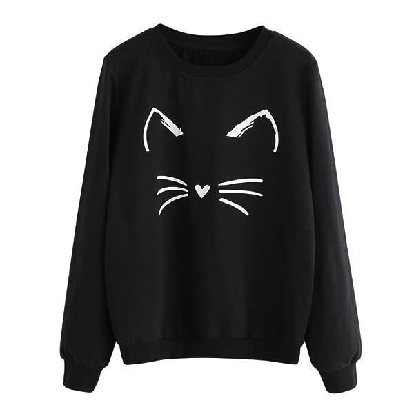 083362b6c3e AmyDong Hot Sale! Women's Sweatshirt Pullover, Fashion Women's Casual Long  Sleeve O-Neck Cat Printing Tops ...