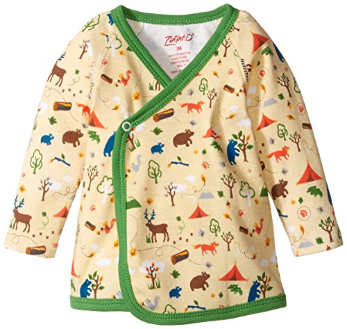 Zutano Unisex-Baby Newborn Happy Camper Kimono Top, Cream, 6 Months