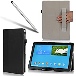 i-BLASON Samsung Galaxy Note Pro 12.2 Case & Galaxy Tab Pro 12.2 Case - Leather Book (Elastic Hand Strap, Multi-Angle, Card Holder) for SM-P900 With Bonus Stylus 3 Year Warranty (Black)