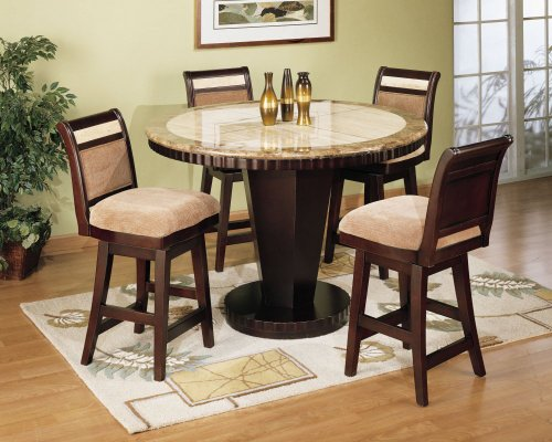 B993 Dining Room Furniture Set 2 in Corallo and Imperador Marble / Espresso - Armen Living - B993-DSET-2