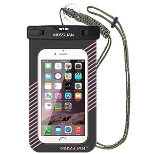 Mosslian Bolsa Funda Impermeable Móvil Universal para iPhone 6s/6/6plus/5s/5, Samsung Galaxy/Note, Certificado IPX8 Resistente al Polvo o Aceite, Ideal para Nadar, Surfear, Pescar, Bucear, Lavar y Cocinar (Rosa, 6inch)
