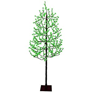 7.5' Pre-Lit LED Christmas Blossom Tree Outdoor Yard Art Decoration - Green