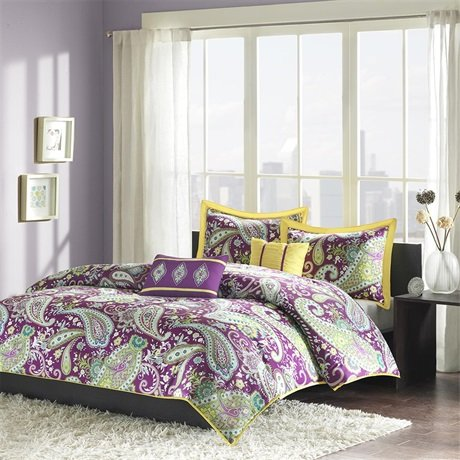 purple yellow bedding