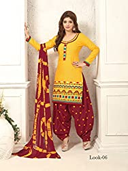 ARAJA NEW DESIGNER COLLECTION GOOD LOOKING YELLOW&BROWN COLOR COTTON EMBROIDERED UNSTICHED FESTIVAL,MARRIAGE AND PARTY WEAR PATIYALA HAND EMBROIDERED DRESS MATERIAL