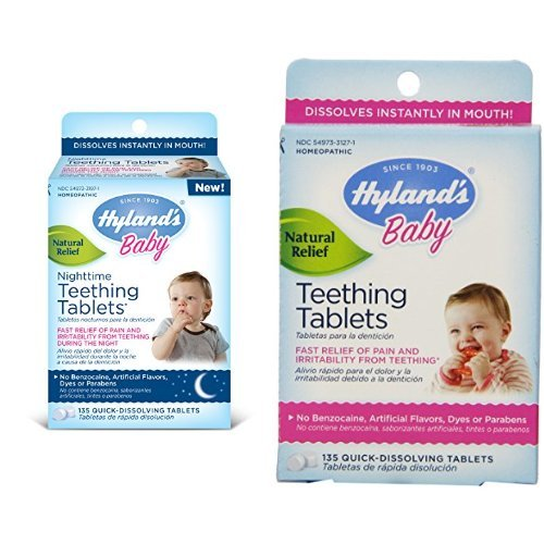 Hyland's Teething Tablets Day and Night Baby Teething Pain Relief Natural Medicine Bundle, 270 Tablets - 1