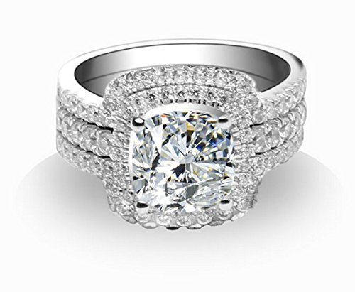3.00 Carat Princess Cut NSCD Diamond Engagement ring set with 2 Bands in 18K Gold over 925 Sterling Silver