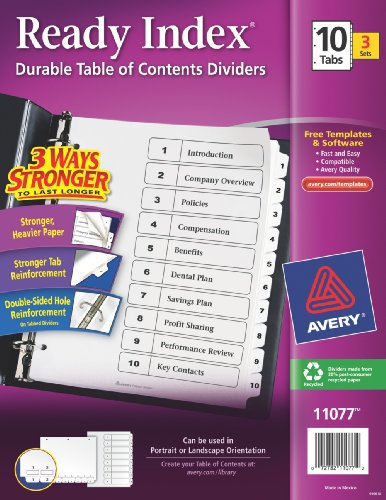 10 tab divider template - avery ready index table of contents dividers 10 tab 3