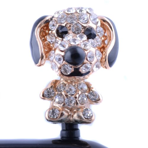 Earphone Jack Accessory Black Bling Crystal Big Ear Dog Puppy Anti Dust Headphone Diamond Jack Plug Bling Cover For Iphone Htc Bling Crystal Rhinestones 3.5Mm Pineapple Pattern Cellphone Charms Anti-Dust Dustproof Earphone Audio Headphone Jack Plug Stoppe