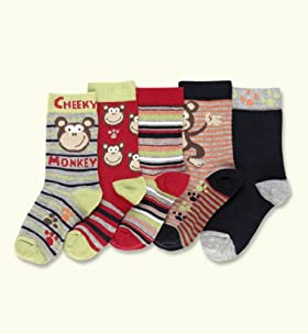 5 Pairs Of Younger Boys' Cotton Rich Assorted Socks
