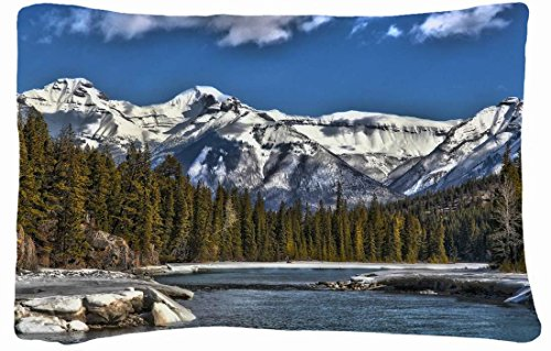 Microfiber Peach Standard Soft And Silky Decorative Pillow Case (20 * 26 Inch) - Landscapes Canada Alberta Banff Mountains Lake Landscape front-998119