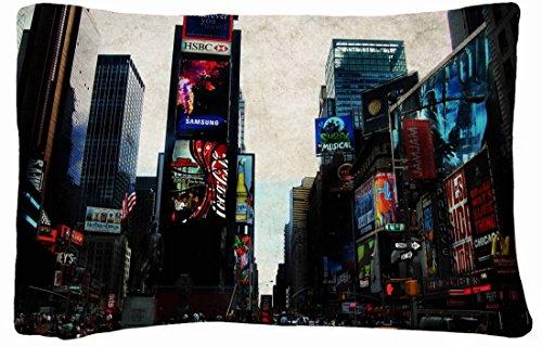Microfiber Peach Queen Size Decorative Pillowcase -Cities Travel Times Square Wallpaper front-837731