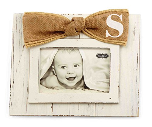 Mud Pie Planked Monogram Bow Frame, S