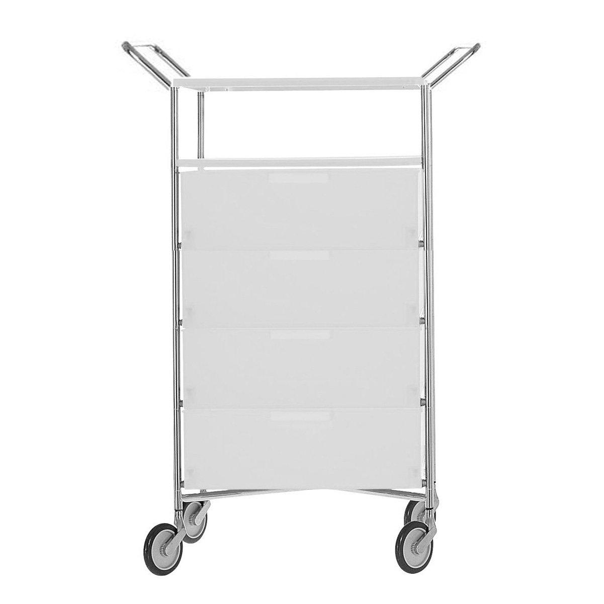 Kartell 2334L1 Container Mobil, 4 Schubladen, eisfarben