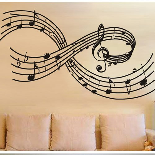 Olivia Large Music Notes Wall Decals Diy Removable Scale Tabs Wall Stickers Rhythm Staff Graphic Design Vinyl Musical Mural Decor Art For Living Room Teen Girls Kids Bedroom Tv Background Home Decoration Black