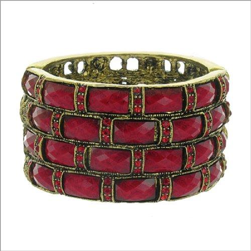 Acrylic & Crystal Stone Hinged Bracelet #042106