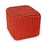Orange Knitted Cube Footstool - 100% Cotton