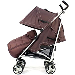 ZETA VOOOM - Hot Chocolate with Rain Cover + Deluxe 2in1 footmuff liner zip off padded Hot Chocolate by Baby Travel