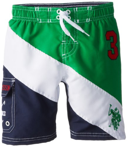 U.S. Polo Association Big Boys' Diagonal Color Blocked Board Shorts, Navy, 10/12