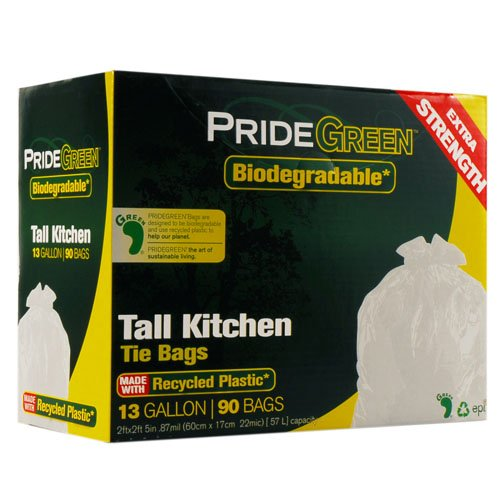 Pridegreen Biodegradable 13 Gallon White Tall Kitchen Trash Bags with Ties, 90-Count