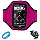 Magenta SumacLife Ultimate Moisture Resistant Neoprene Workout Armband for Verizon Wireless Motorola Droid RAZR Android Smartphone + Motorola Droid RAZR Windshield Mount Holder + SumacLife TM Wisdom*Courage Wristband