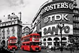 HUGE LAMINATED / ENCAPSULATED London Red Bus Routemaster, Piccadilly Circus Iconic Corner POSTER measures 36 x 24 inches (91.5 x 61cm
