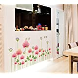 Oren Empower Pink Plants PVC Vinyl Wall Stickers For Living Room (Finished Size On Wall - 80(w) X 47(h) Cm)