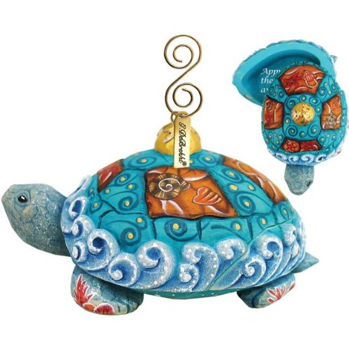 G. Debrekht Se a Turtle Ornament, 2-Inch Tall, Also Functions as a Swivel Box, When Opened Reads Appreciate the Beauty Around You