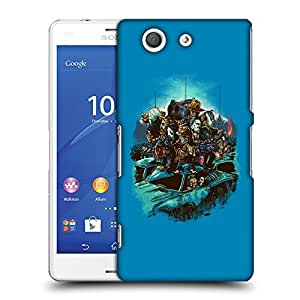 Snoogg Blue Background with Monsters Designer Protective Back Case Cover For SONY Z3 COMPACT