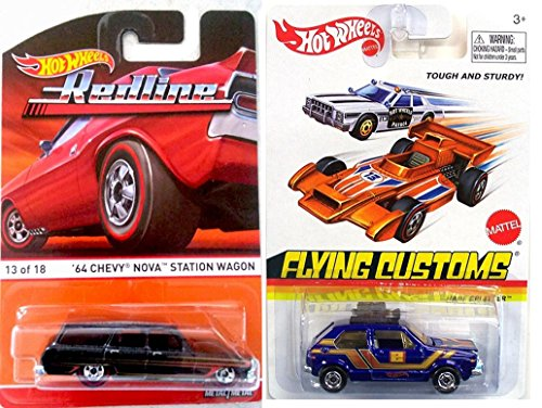 Volkswagen Hare Splitter Hot Wheels + Redline Heritage Collection 2016 '64 Chevy Nova Station Wagon - Flying Customs in CASES (Super Treasure Hunt Datsun compare prices)