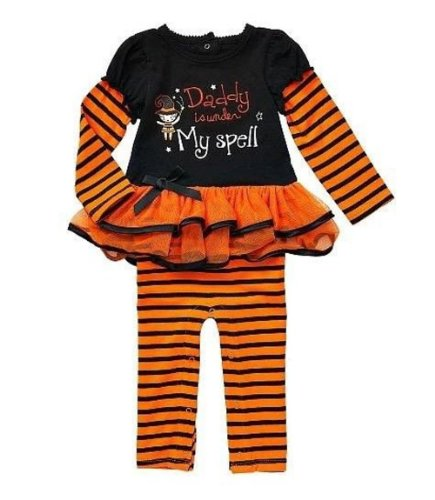 Daddy Is Under My Spell Embroidered One Piece Tutu Baby Romper Dress Up Outfit (9 Months) front-162564