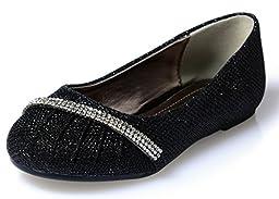 Link Little Girls Rhinestone Ballet Ballerina Glitter Flat Shoes, black