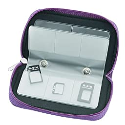 GGS Universal Memory Card Storage Carrying Case (8 Pages, 22 Card Compartments) Purple