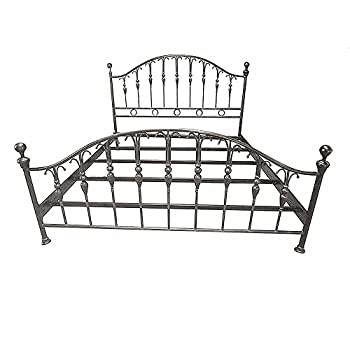 MCM3 Handmade King Size Wrought Iron Bed Frame,Bronze Patina, L80x76W,Unique Design