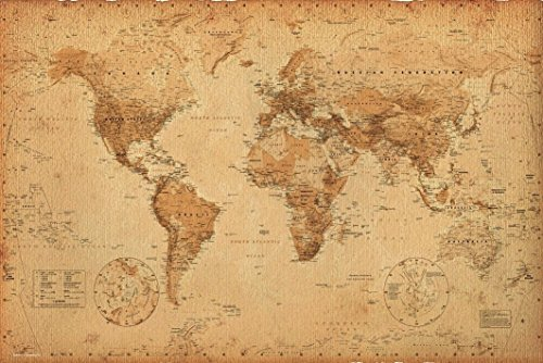 World Map (Antique) Art  24x36 Poster (The World Of Maps compare prices)