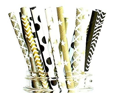 Paper Straws- Celebrate Graduation Straws- Black and Gold Party Disposable Straws (50 Straws)
