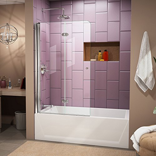 DreamLine Aqua Fold 36 in. Width, Frameless Hinged Tub Door, 1/4