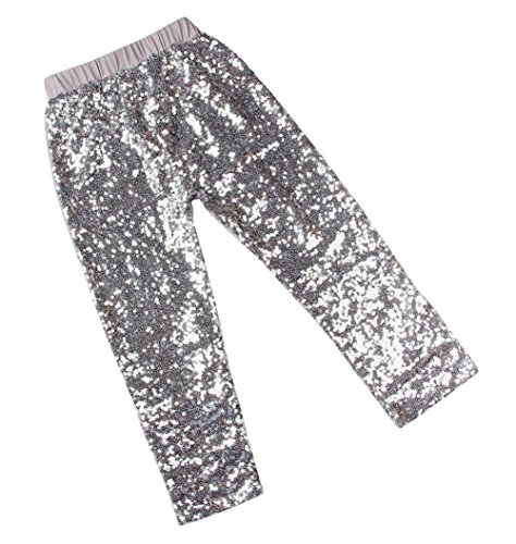 Messy Code Gorgeous Girls Sequin Leggings,Silver,XXL(4-5Y) (Disco Themed Clothes)