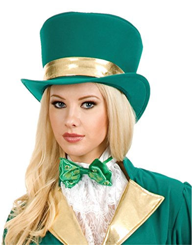 Women's Circus Magician Showgirl Green Top Hat And Gold Ribbon Costume Accessory