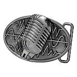 Buckle Rage Adult Unisex Retro Vintage Microphone Sound Wave Belt Buckle Silver