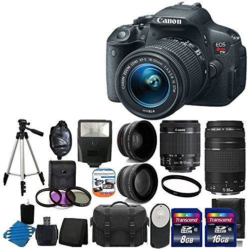 Canon Eos Rebel T5I 18.0 Mp Cmos Digital Camera Hd Video With Ef-S 18-55Mm F/3.5-5.6 Is Stm Zoom Lens + Ef 75-300Mm F/4-5.6 Iii Telephoto Zoom Lens ++ 58Mm 2X Professional Lens +High Definition 58Mm Wide Angle Lens + Auto Flash + Wireless Remote +Uv Filte