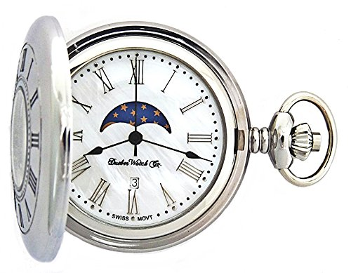 Dueber Watch Co  Watches best price: Dueber Watch Co Moon Phase Pocket Watch with Swiss Movement & Mother of Pearl Dial