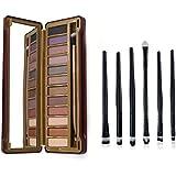 Ucanbe Naked Neutral Eye Shadow Palette with Professional Eyeshadow Applicator 6pcs Eye Makeup Brushes Set