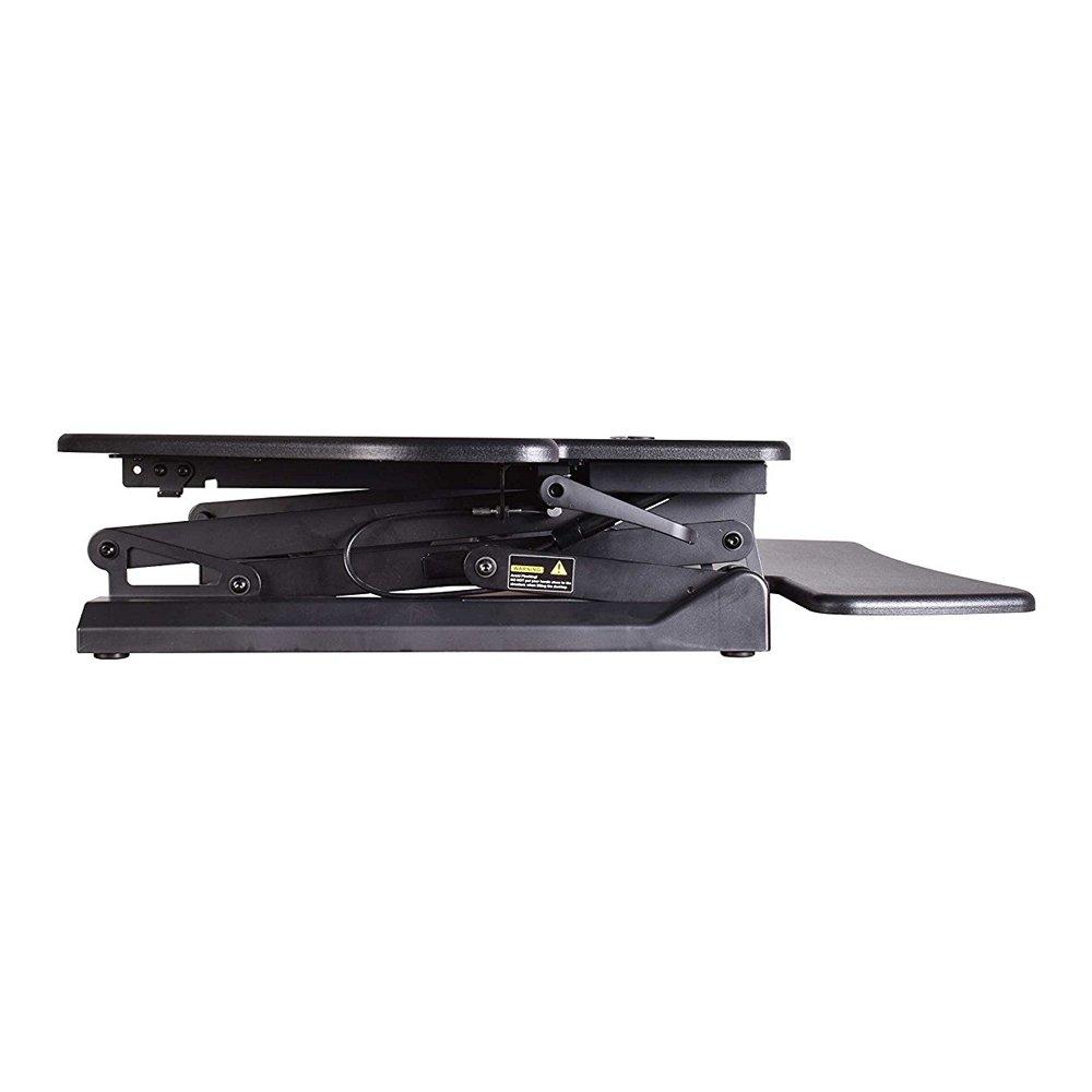 KoolDesk Corner Standing Desk Converter 40 inch Wide Adjustable Height Tabletop Sit Stand Up Desk for Cubicles, Removable Spacious Keyboard Tray Platform – Black