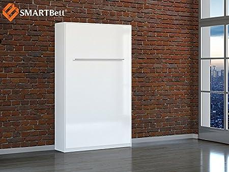 Smartbett schrankbett hochkantbett murphy shampoing bed foldaway bed 120 verticalement de couette de 135 x 200 cm-couleur :  blanc avec hochglanzfront