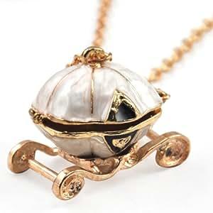 World Pride Fairy Tale Cinderella Pumpkin Carriage Locket Pendant Chain Necklace