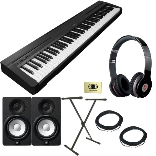 Yamaha P-Series P-35 88-Key Digital Piano With Graded Hammer Standard Keyboard And Built-In Speaker System Bundle With Beats By Dr. Dre Solo Hd On-Ear Headphones (Black), 2 Yamaha Hs5 Speakers, 2 Conquest Sound Speaker Cables, Stageline X-Style Keyboard S